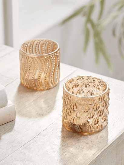 NEW Two Textured Amber Tealight Holders