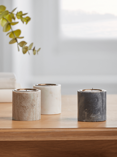 NEW Three Marble Candle Holders