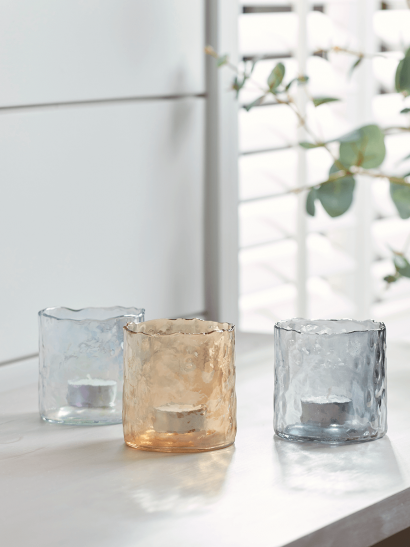 NEW Three Dimpled Glass Tealight Holders