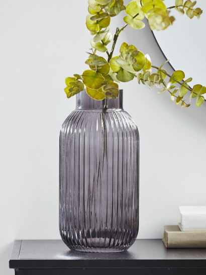 NEW Fluted Glass Vase - Grey