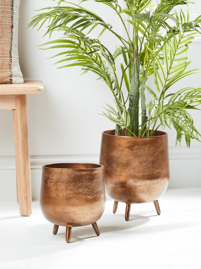 NEW Two Textured Standing Planters - Antique Bronze
