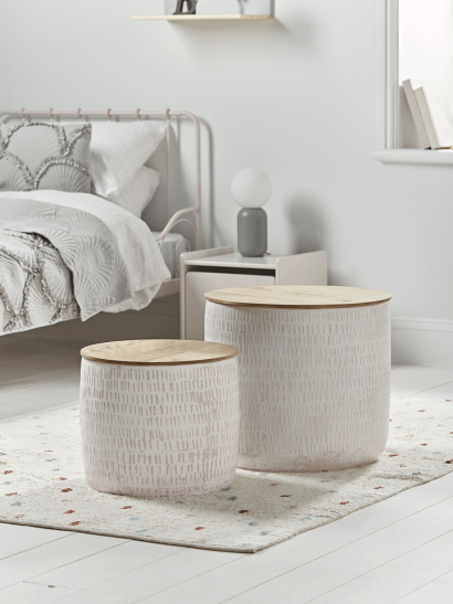 NEW Two Enamelled Storage Tables - Blush