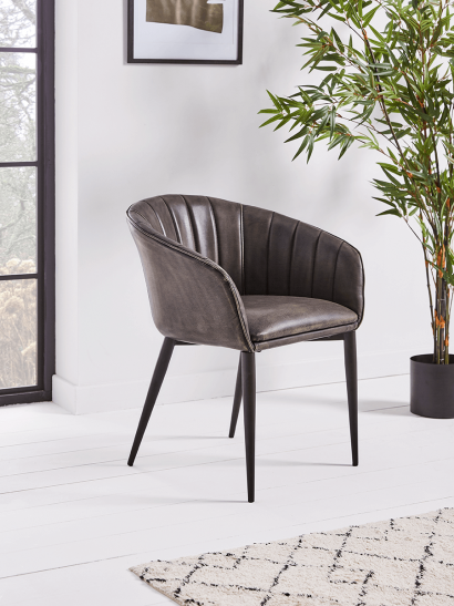 NEW Charcoal Fluted Tub Chair