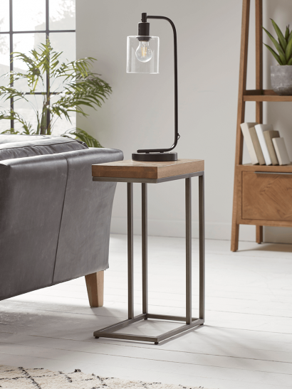 NEW Industrial Wood and Metal Sofa Table