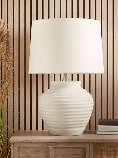 Oversized Ribbed Barrel Table Lamp
