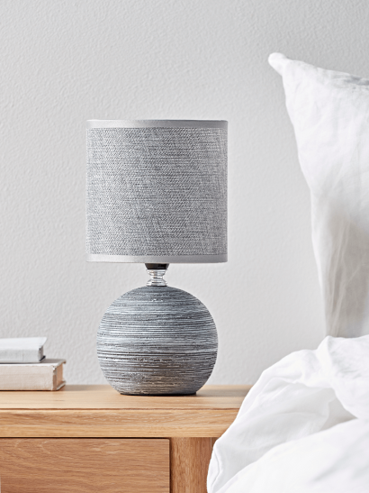 NEW Round Textured Bedside Lamp - Soft Grey