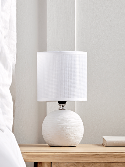 NEW Round Textured Bedside Lamp - White