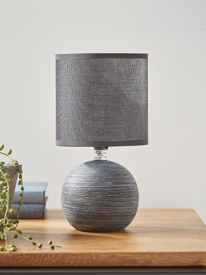 NEW Round Textured Bedside Lamp - Charcoal