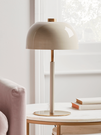 NEW Brass & Cream Dome Table Lamp