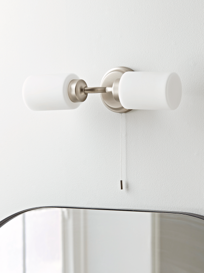 NEW Frosted Glass Twin Bathroom Light