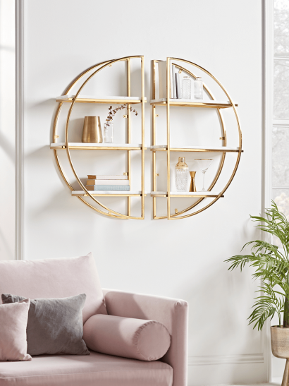 NEW Two Gold & Marble Half Round Shelves