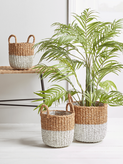 NEW Three Dipped Planters - White