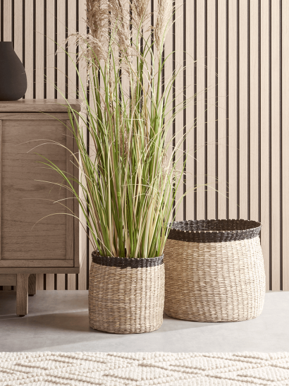 NEW Two Black Rimmed Baskets
