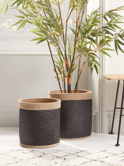 NEW Two Black Woven Baskets