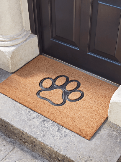 NEW Embossed Rubber Paw Print Doormat - Large