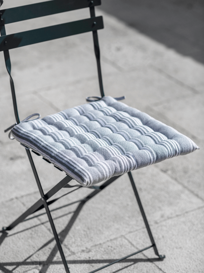 Vintage Stripe Seat Pad - Soft Grey
