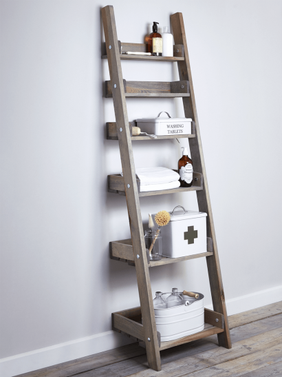 Rustic Wooden Ladder Shelf - Slim