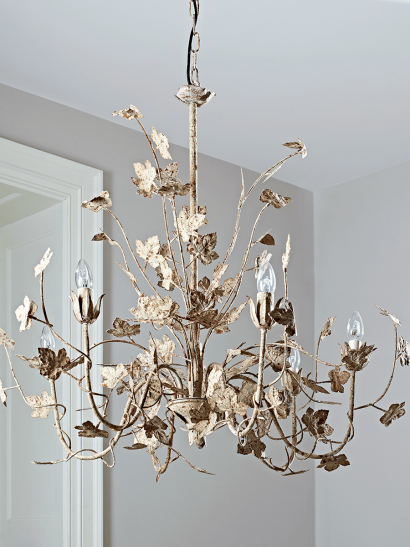 Antique White Leaves Chandelier