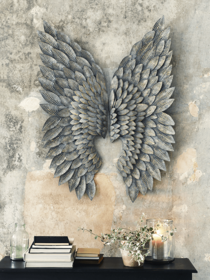 Greywashed Gilt Metal Angel Wings