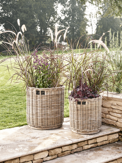 Two Round Rattan Planters