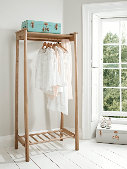 Bergen Oak Clothes Rail - Natural