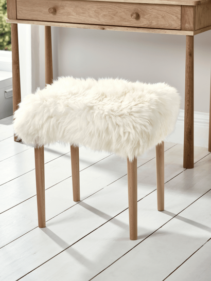 Sheepskin Dressing Table Stool - Ivory