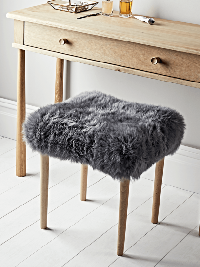 Sheepskin Dressing Table Stool - Slate Grey