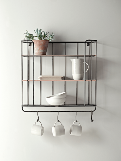 Industrial Shelf with Hooks - Large