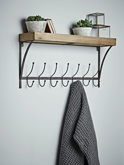Rustic Wooden Shelf with Hooks