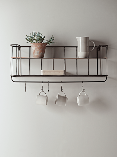 Industrial Shelf with Hooks - Small