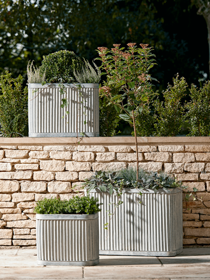 Three Fluted Zinc Planters
