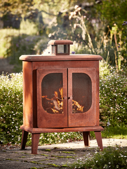 Rusty Outdoor Woodburner - Square