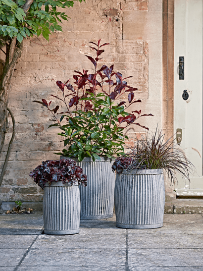 Three Fluted Zinc Planters - Round