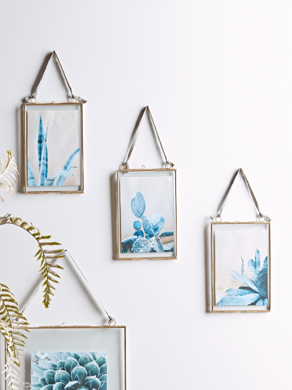Three Delicate Hanging Frames - Brass