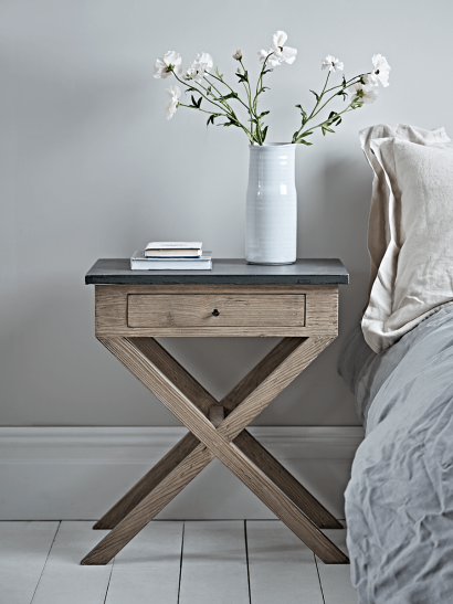 Distressed Cross Leg Bedside Table