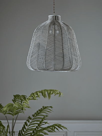 Grey Chevron Rattan Shade