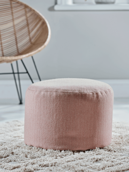 Herringbone Wool Pouffe - Blush