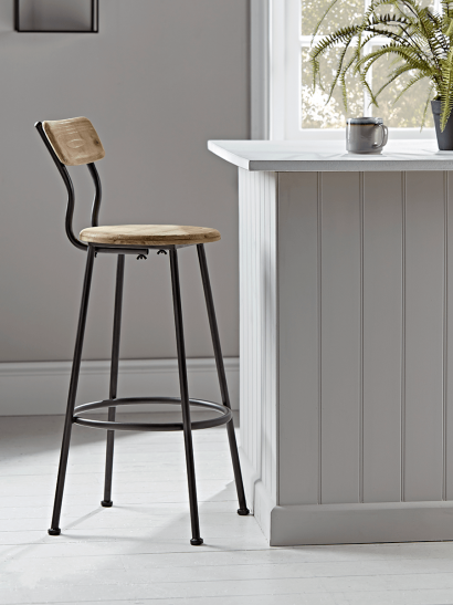 Wood & Metal Backed High Stool