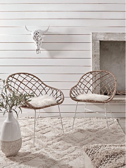 Round Rattan Open Weave Chair