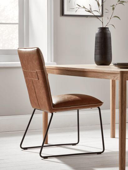 Two Alden Dining Chairs - Tan