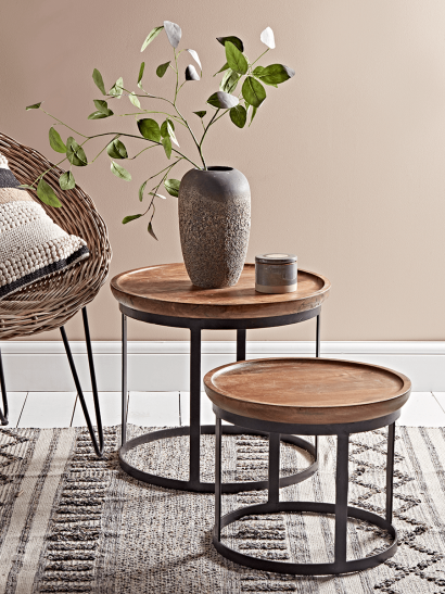 Two Curved Top Wooden Tables