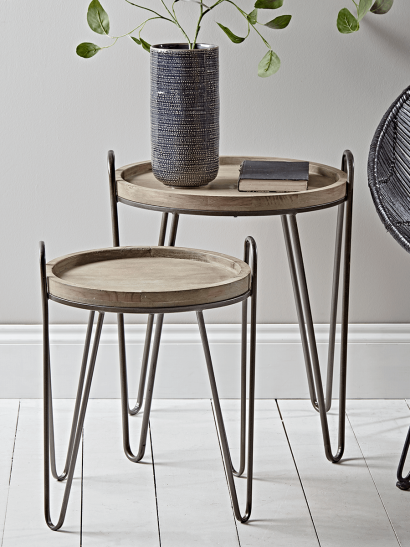 Two Hairpin Nesting Side Tables
