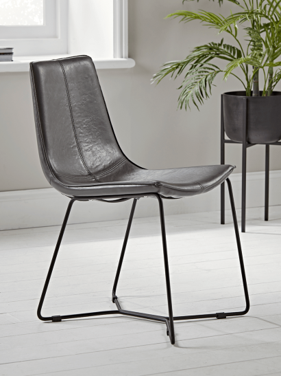 Two Miro Dining Chairs - Grey