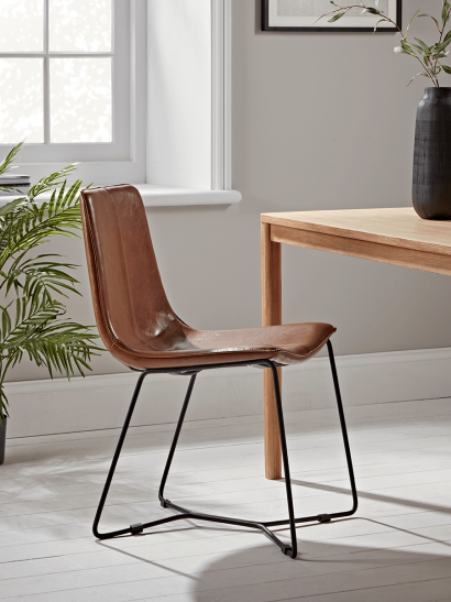 Two Miro Dining Chairs - Tan