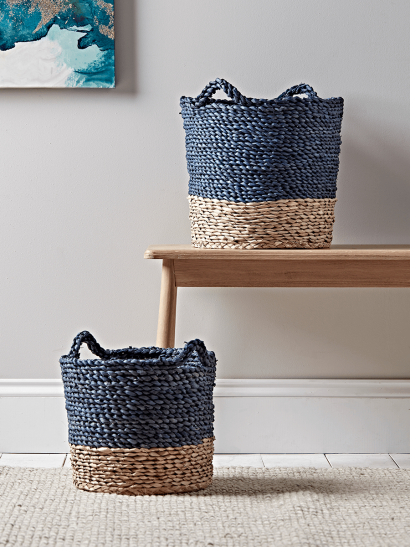 Two Navy & Natural Baskets