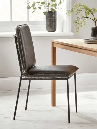Two Wire Backed Dining Chairs - Grey