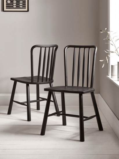 Two Bergen Oak Dining Chairs - Black