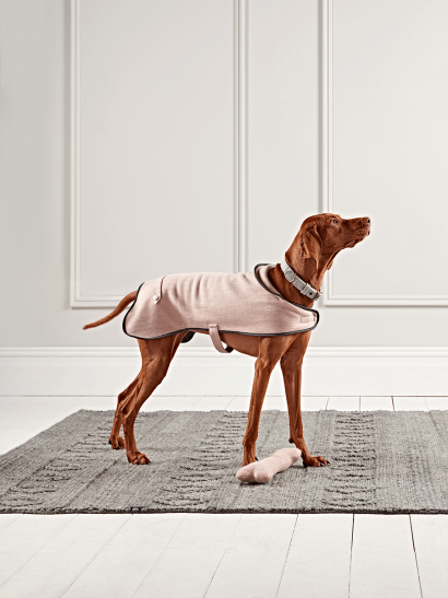 Blush Herringbone Wool Dog Coat