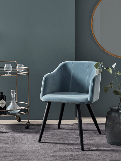 Ice Blue Velvet Occasional Chair