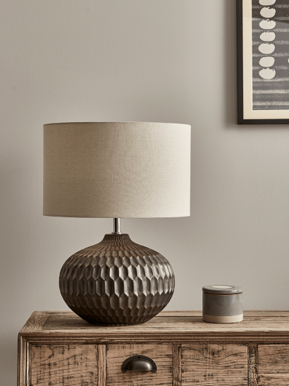 Bronze Geometric Textured Lamp